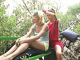 Teen lezzies make love outdoors