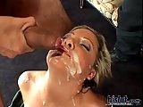 Sophia gets huge cumload on face