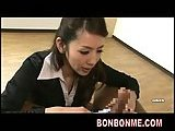 2 horny office ladies give nice blowjob