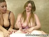Mature shows busty teen how to satisfy male