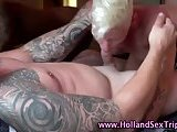 Blonde dutch hooker sucks dick