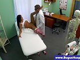 Real sexy babe at doctors fucked after sucking