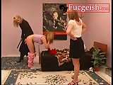 Naughty girl gets spanked by older milf and punished