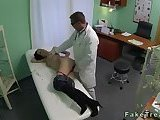 Small tits brunette milf gets drilled by doctor