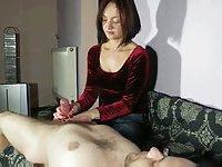 Brunette whore shows her handjob skills