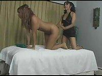 Lesbian sex in massage parlor