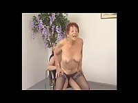 Redhead granny drilled in stockings