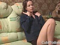 Teenie teasing under black panties