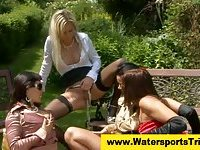 Watersport pissing group lesbians