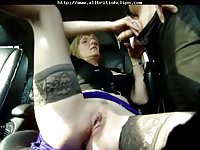 Exempt british euro babe sucks in a car
