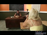 Blonde babe pussy rammed in office