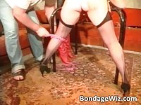 Hot blonde and a guy screw busty brunettes pussy with a dildo