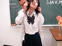 Japanese jerking teacher cock