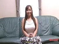 Busty Jap slut gives head at casting