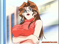 Japanese hentai fingering pussy and licking tits