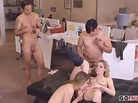 Crazy Adults Sex in Office Jessi Andrews Lily Labeau Double Shot