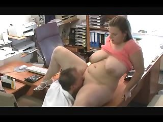 Busty bitch banged in office
