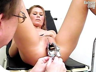 Vagina speculum examined at gyno at passionclips.com