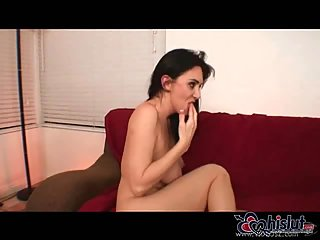 Brunette hottie stuffed with black dong