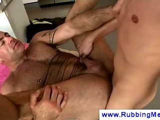 Tattooed gay fucked on massage table