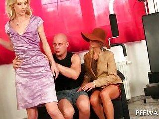Hottie peeing on lusty couple