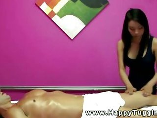 Hot oriental massaging clients cock and balls