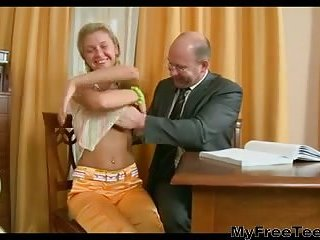 Blonde teen with her teacher