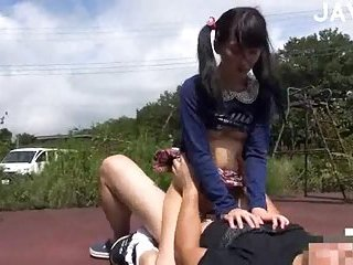 Teen asian girl drills with guys after lessons