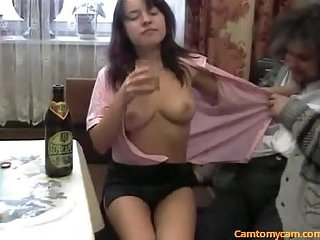 This drunk slut was fucked on the table