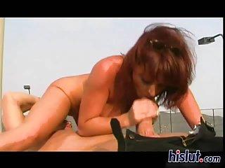 Busty redhead milf fucked outdoor