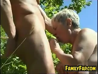 Russian Step Mother Drilled Outside